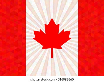 Flag of Canada with rays