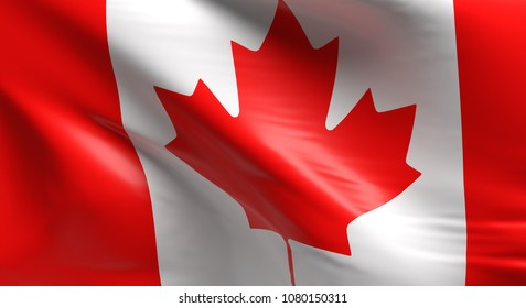 Flag of Canada using as background, 3d rendering