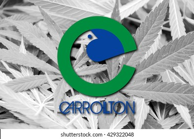 Flag of Carrolton, Texas, on cannabis background. Drug policy. Legalization of marijuana
