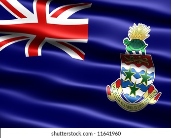 Flag of the Cayman Islands, computer generated illustration with silky appearance and waves