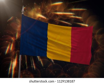 Flag of Chad with fireworks display in the background