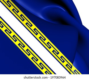 Flag of Champagne-Ardenne, France. Close Up.