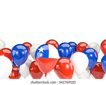 Flag of chile, with balloons isolated on white. 3D illustration