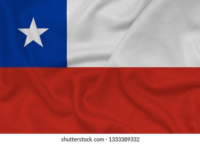 Flag of the Chile from the factory knitted fabric. Backgrounds and Textures