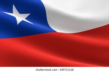 Flag of Chile. Illustration of the Chilean flag waving.