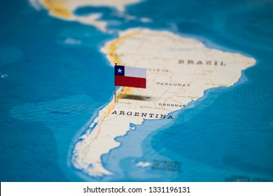 the Flag of chile on santiago in the world map