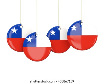 Flag of chile, round labels on white. 3D illustration