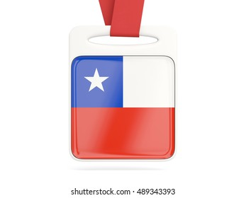 Flag of chile, square card with red ribbon. 3D illustration