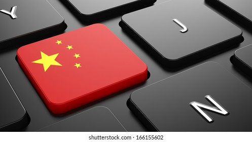 Flag of China - Button on Black Computer Keyboard.