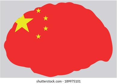 The Flag of China contained in a Brain