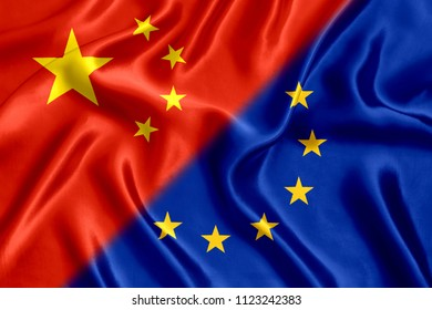 Flag China European Union silk