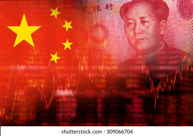Flag of China with face of Mao Zedong on RMB (Yuan) 100 bill. Downtrend stock diagram