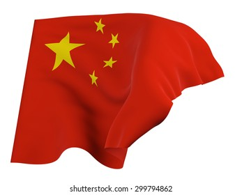Flag of China ,isolated, waving in the wind