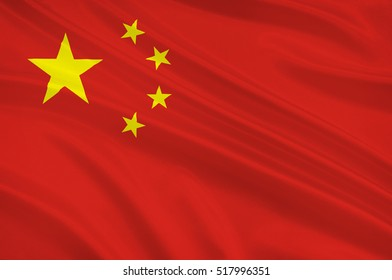 Flag of China, officially the People's Republic of China (PRC), is a sovereign and unitary state in Asia. 3d illustration