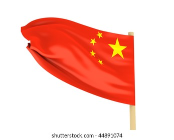 Flag of the China on pole on white background. High quality 3d render.