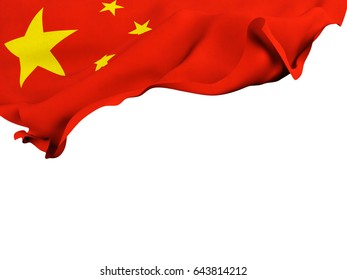Flag of China shot ,isolated while waving on a white background.3D Rendering
