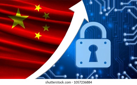 The flag of China together with the blue cryptogram and the up arrow with the lock. This concept shows the increased level of security of the crypto currency and blockchain wallets.