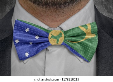 Flag of Christmas Island on bowtie business man suit