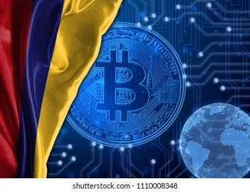 Flag of Colombia against the background bitcoin.