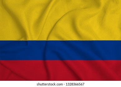 Flag of the Colombia from the factory knitted fabric. Backgrounds and Textures