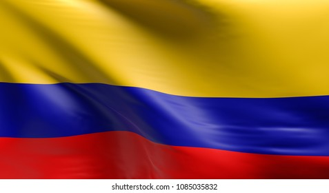 Flag of Colombia using as background, 3d rendering