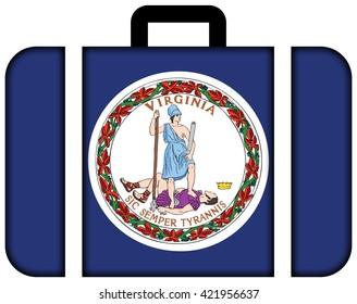 Flag of the Commonwealth of Virginia. Suitcase icon, travel and transportation concept