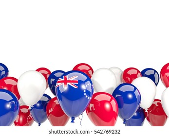 Flag of cook islands, with balloons isolated on white. 3D illustration