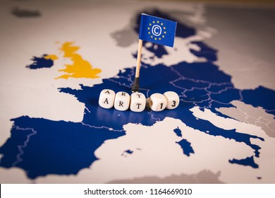 Flag with Copyright symbol over a EU map. Symbolizing the EU Directive on Copyright in the Digital Single Market or CDSM. Art. 13 is known as meme ban