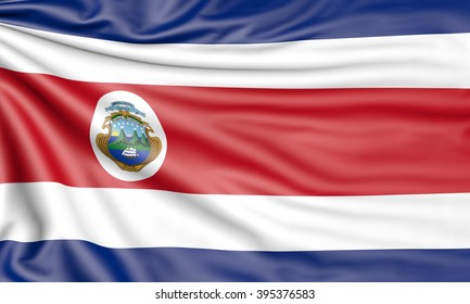 Flag of Costa Rica, 3d illustration with fabric texture
