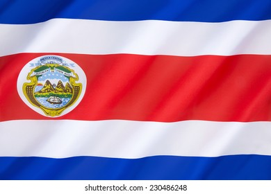 Flag of Costa Rica - adopted on 27th November 1906. The flag was updated to reflect modifications to the national coat of arms in 1964 and again in 1998.