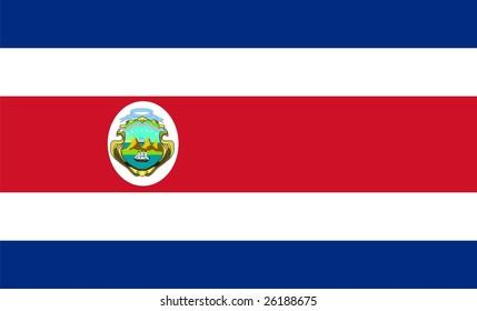 Flag of Costa Rica. Illustration over white background