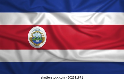 Flag of Costa Rica waving in the wind detail