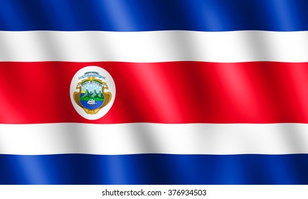 Flag of Costa Rica waving in the wind giving an undulating texture of folds in the fabric. The Image is in the official ratio of the flag - 3:5.