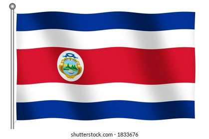 Flag of Costa Rica waving (With Clipping Path)