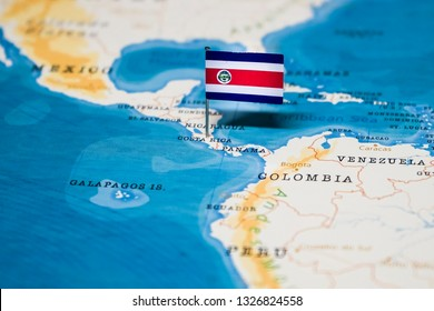 the Flag of costa rica in the world map