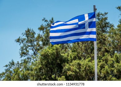 Flag of the crete in sunny day