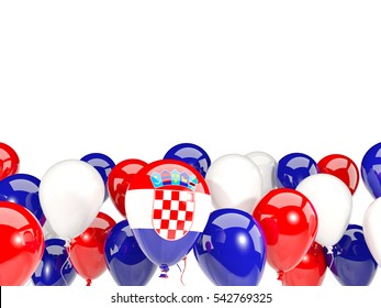 Flag of croatia, with balloons isolated on white. 3D illustration