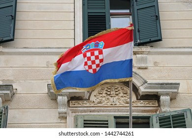 Flag of Croatia at Building Exterior Flagpole