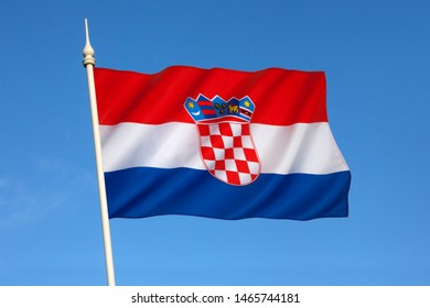Flag of Croatia - combines the colors of the flags of the Kingdom of Croatia (red and white), the Kingdom of Slavonia (white and blue) and the Kingdom of Dalmatia (red and blue).