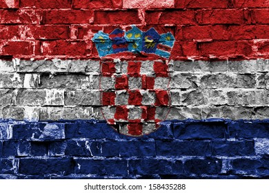 Flag of Croatia painted on brick wall
