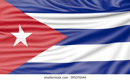 Flag of Cuba, 3d illustration with fabric texture