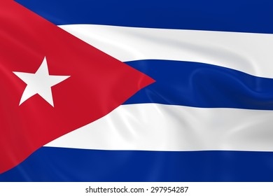 Flag of Cuba - 3D Render of the Cuban Flag with Silky Reflective Texture