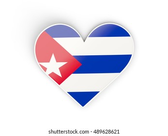Flag of cuba, heart shaped sticker isolated on white. 3D illustration
