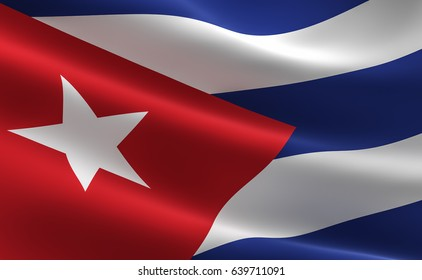 Flag of Cuba. Illustration of the Cuban flag waving.
