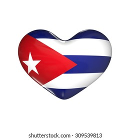 flag of Cuba on the heart. 3d render illustration