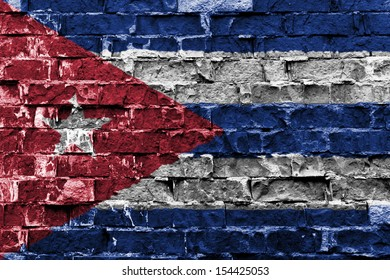 Flag of Cuba painted on brick wall