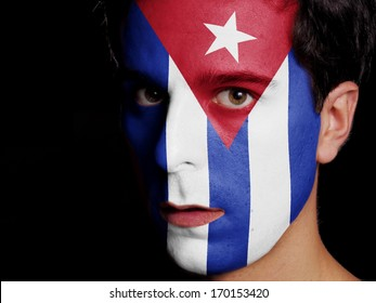 Flag of Cuba Painted on a Face of a Young Man