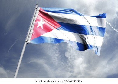 Flag of Cuba in the sky. National Flag of Cuba on flag pole for Independence day.