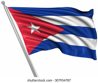Flag of Cuba , This is a computer generated and 3d rendered image.
