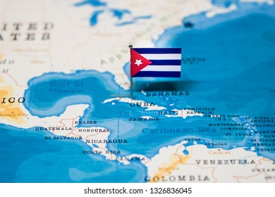 the Flag of cuba in the world map